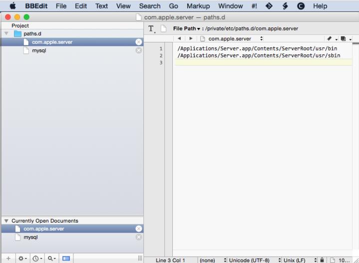 BBEdit paths.d directory com.apple.server file