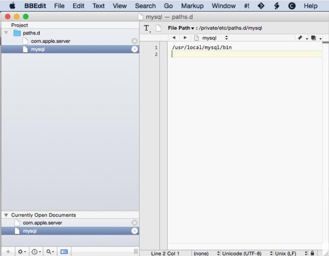 BBEdit paths.d directory mysql file