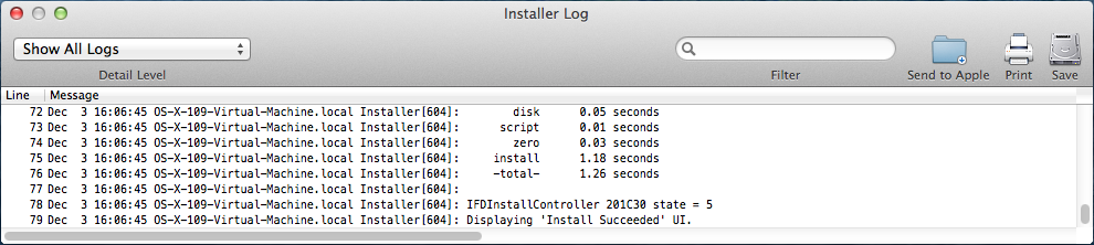 Installer Log Window
