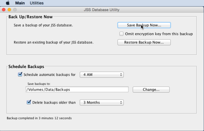 JSS Database Utility - Save Backup Now...
