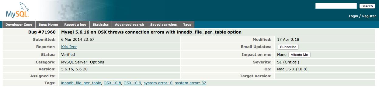 MySQL Bug ID 71960