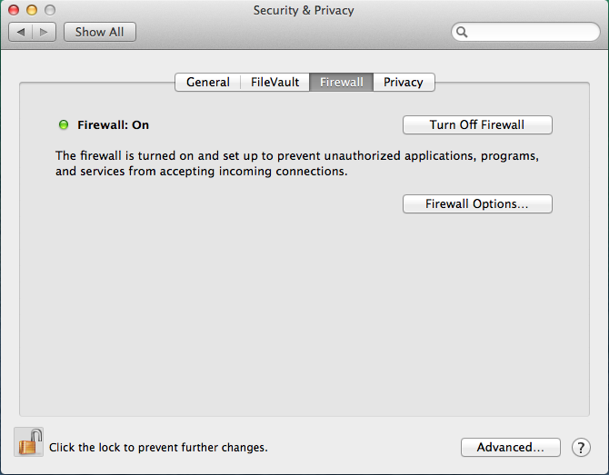 OS X 10.9 - System Prefs - Security & Privacy - Firewall - On