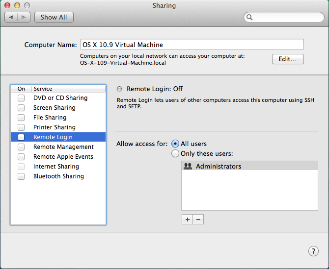 OS X 10.9 - System Prefs - Sharing - Remote Login Off