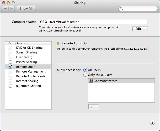 OS X 10.9 - System Prefs - Sharing - Remote Login