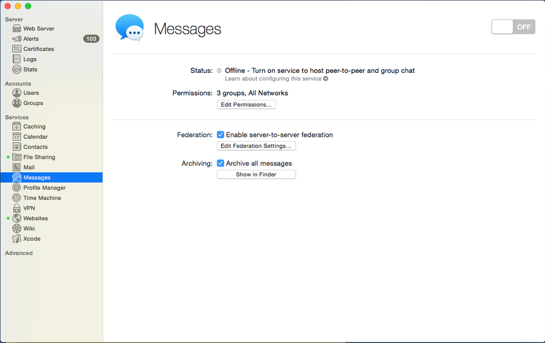OS X Server - Messages Off