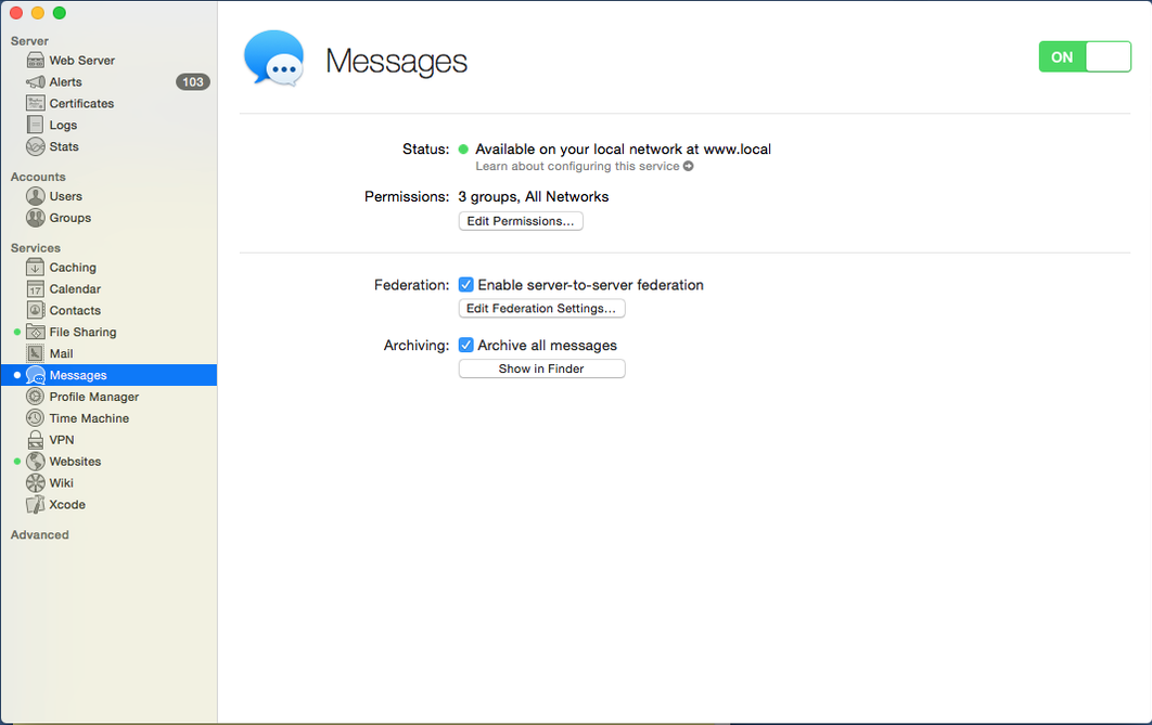 OS X Server - Messages On
