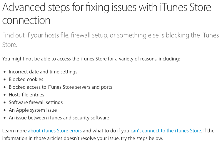 Advanced steps for fixing issues with iTunes Store connection