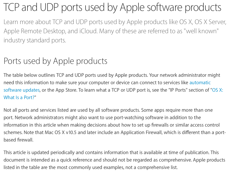 TCP and UDP ports used by Apple software products