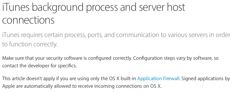 iTunes background process and server host connections
