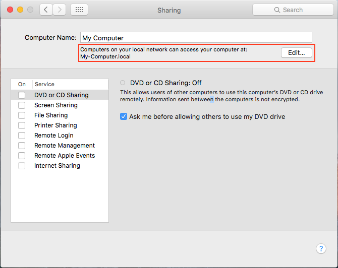System Preferences - Bonjour Name Example