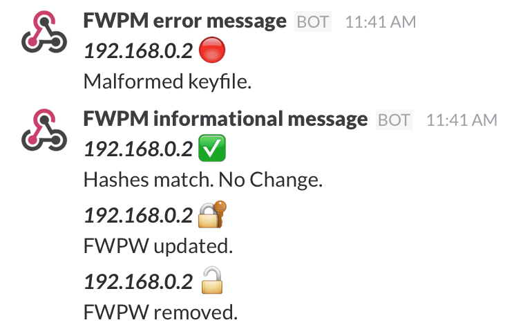 example slack messages