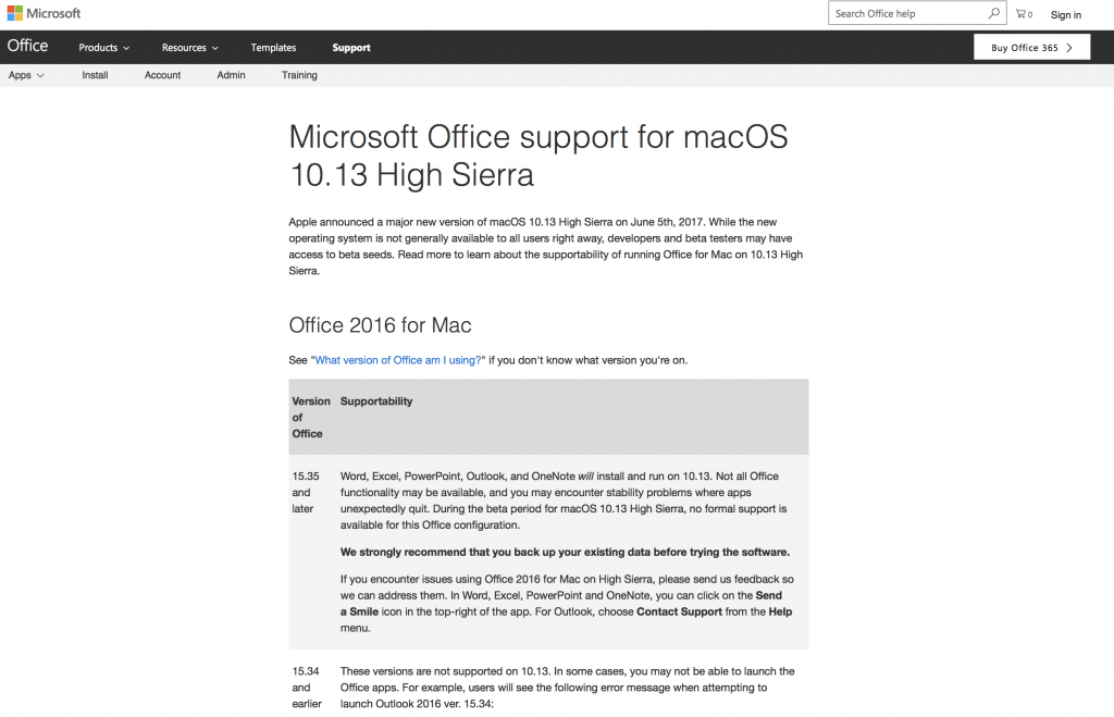 Microsoft Office Support for macOS 10.13 High Sierra