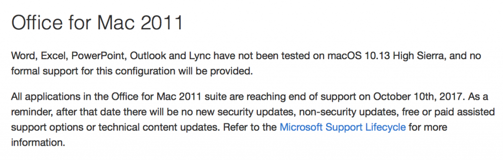 Microsoft Office for Mac 2011 & macOS 10.13 High Sierra Support Statement