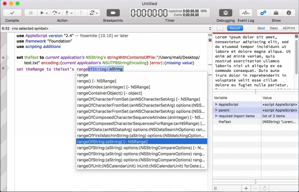 Script Debugger - AppleScriptObjC Value Viewing