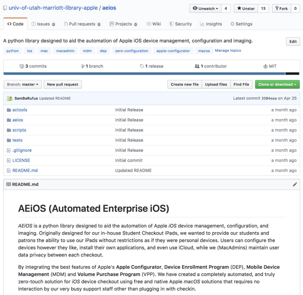 AEiOS (Automated Enterprise iOS) GitHub Respository