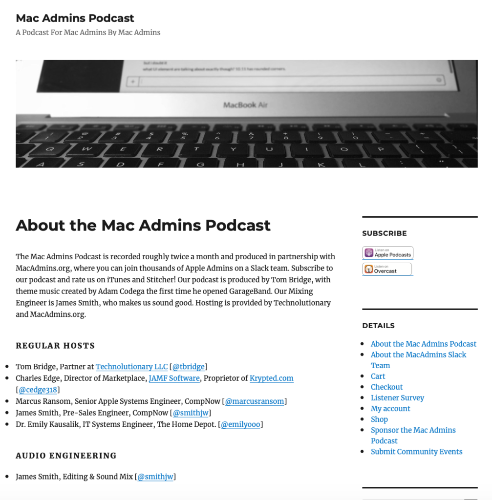 Mac Admins Podcast Web Site